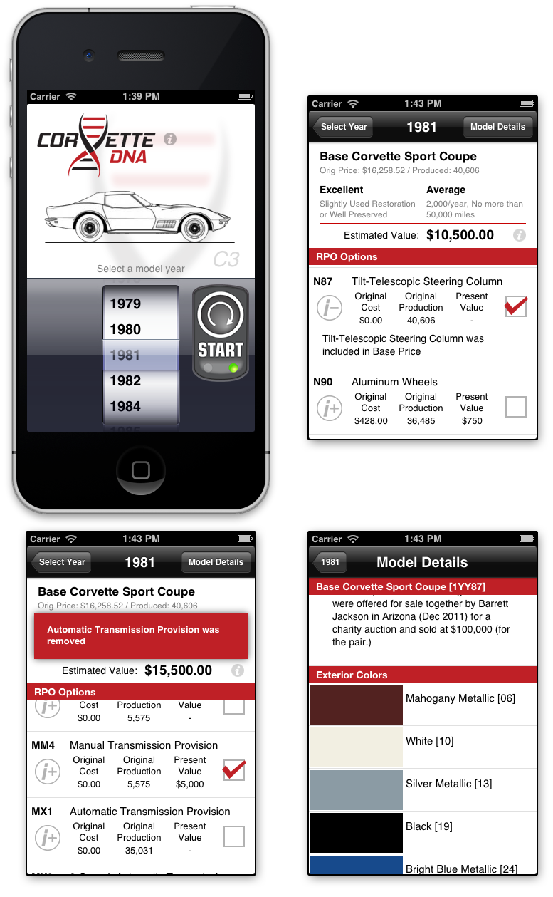 screenshots of Corvette DNA iPhone app